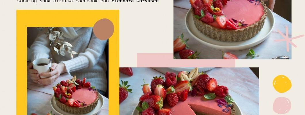 Tarte al grano saraceno con crema frangipane al pistacchio e cremoso alle fragole