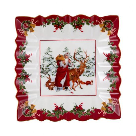 Toy's Fantasy ciotola rettangolare Babbo Natale con animali del bosco, multicolore/rossa/bianca, 23 x 23 x 3,5 cm