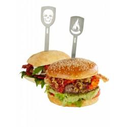 Spiedini per hamburger, 2 pezzi Teschio + peperoncino Spiedini per hamburger TORRO, 2 pezzi