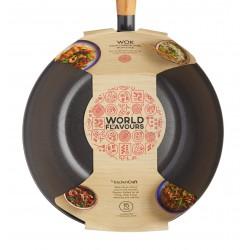 """Wok 35 cm (14 """") Manico in legno orientale in acciaio al carbonio antiaderente"""