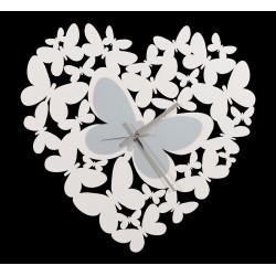 Orologio Cuore Butterfly,bianco - Arti e Mestieri